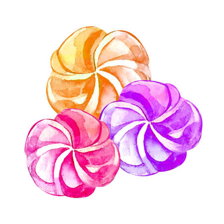 Hand drawn watercolor with vanilla, pink, raspberry marshmallow and souffle. Romantic concept. Isolated object on white background. Illustration of sweets and dessert.