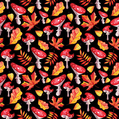 Seamless background of beautiful autumn leaves watercolor on black background. Rowan, oak, maple, birch, Linden. Decoration for autumn design. Bright texture for packaging, textiles, Wallpaper.