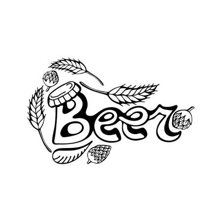 Hand drawn lettering beer. The set of letters of the logo. Typography. Beer black text on a white background. Vector illustration. Ilustracja