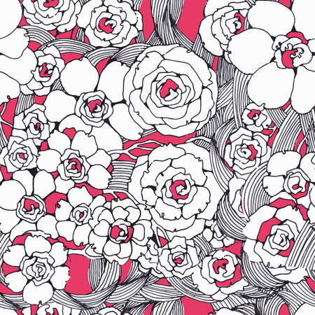 Seamless pattern graphic spring flowers. Black and white line and pink color. Hand drawing in modern style. Trendy design for product packaging, textiles, Wallpaper. Stylized flowers Archivio Fotografico - 129259533