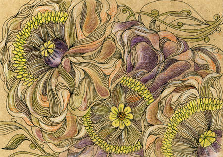 Hand drawing of stylized flowers and herbs. Graphic, artistic technique. Crayons, line, ink. Ready original postcard, poster, banner Vintage style