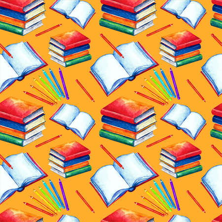 Seamless school pattern in watercolor. Books, textbooks, colored, pencils on a white background. Design for textiles, paper, Wallpaper, packaging, banner postcard invitation fabric Zdjęcie Seryjne - 129820017