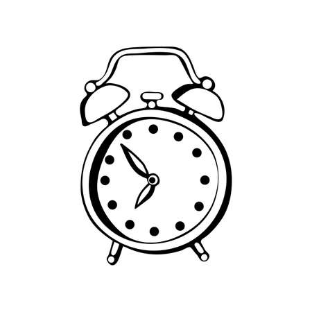 Alarm clock vector drawing in black and white. Contour hand drawing line. Isolated object on white background. A hand drawn sketch of a clock in a vector.