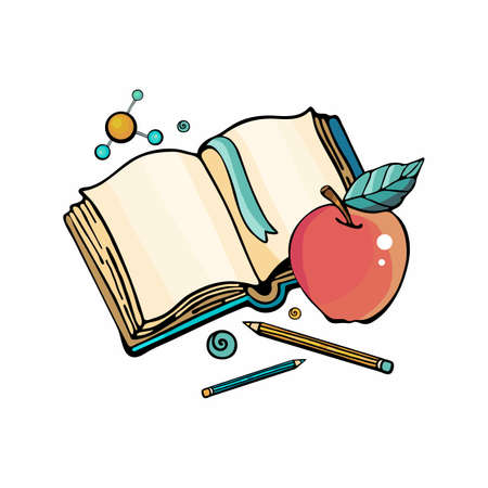 Cartoon hand drawn Doodle illustration teach lessons.Isolated objects on a white background, open book, pencils, Apple, hydrogen molecule. Cute, childish style hand-drawn. Vector hand draw.