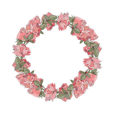 Wedding wreath save the date. Pink, red rose. Vector illustration. Summer flowers. Isolated on white background. Retro, vintage. Romantic, gentle style. Hand drawing