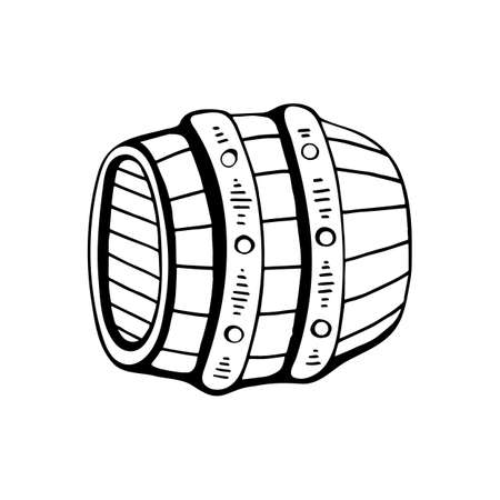 Line art black and white beer barrel. Coloring book page for adults and kids. Oktoberfest themed vector illustration for icon, sticker, patch, label, badge, certificate or ad banner decoration  イラスト・ベクター素材