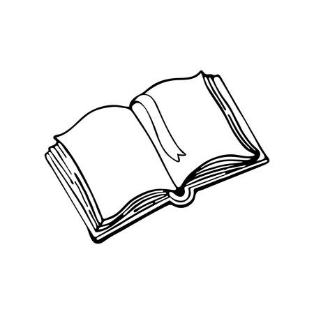 Vector Drawing, Open Book Or Tutorial In Black And White