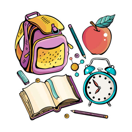 School kit for the girl. Cartoon cute Doodle school lessons. Colorful illustration. Collection with a large number of objects. Backpack, textbook, alarm clock, pencil, eraser. Funny works of art.