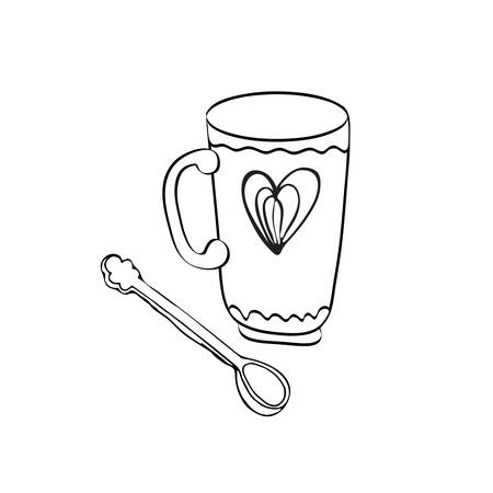 Hand drawn sketch of coffee and tea Cup vector Illustration. Vector illustration isolated on white background. Espresso, cappuccino, voice, latte, Irish, mocha, coffee dessert. Cute Doodle vintage