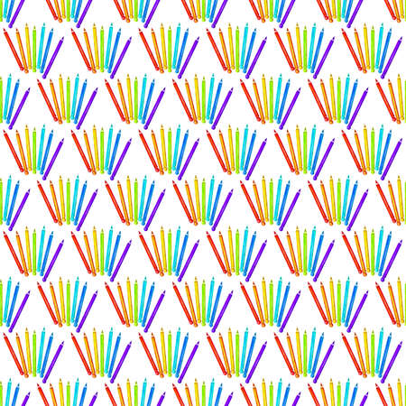 Seamless pattern with colored pencils in watercolor. School theme on white background. Design for textiles, paper, Wallpaper, packaging, banner, postcard, invitation, fabric.