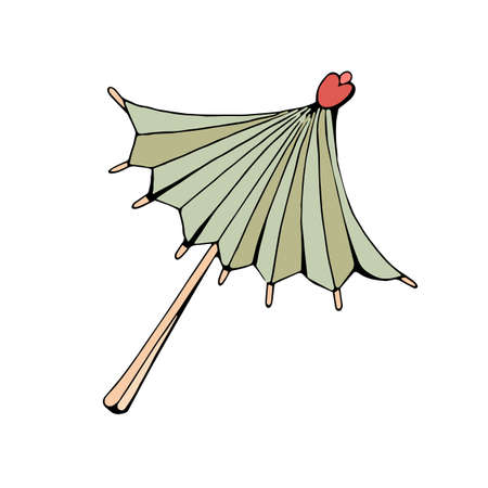 Cocktail umbrella. Decoration for drinks. Vector object on white background. Retro style. Vintage. In isolation.