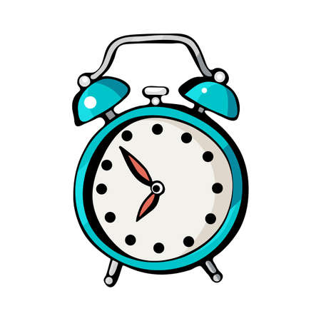 Alarm clock, vector drawing isolated on white background. Cartoon Doodle of cute, colorful illustrations. Funny works of art. Hand-drawn sketch. Logo design, symbol, emblem, sticker.