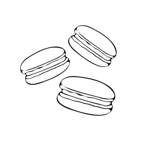 Beautiful vector illustration of macaroon drawn line on white isolated background. Colorful French almond cookies in heart shape on white background. Vector illustration for maps, menus and printing.