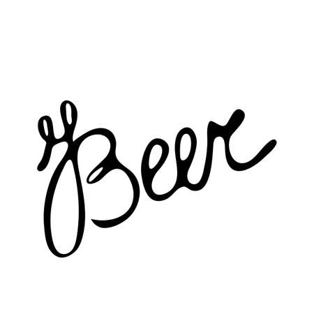 Beer lettering design template, grunge brush. Design Oktoberfest, menu, pub. Handwritten modern calligraphy written in letters. Inspirational text, vector