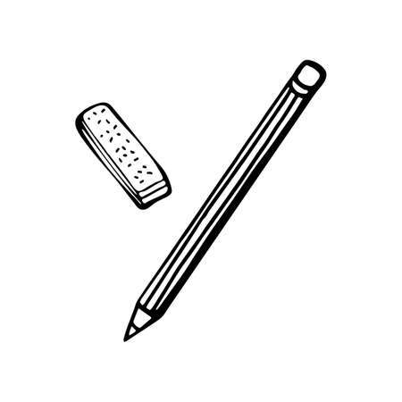 Drawing with pencil and eraser. Isolated object on white background. Hand drawing. School accessories for student and schoolboy.