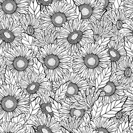 Vector seamless gerbera Daisy pattern. Graphic hand drawing black line, realistic style. Floral Botanical illustration. Retro style. Design for textiles, packaging, Wallpaper. Coloring Archivio Fotografico - 129259585