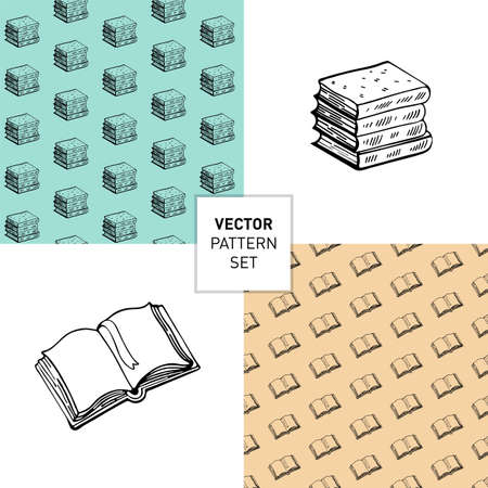Set of Seamless outline book pattern and items isolated on white background. Vector monochrome texture. Vector seamless texture. Books Doodle. Hand-drawn. Drawing a line. Design for packaging, textiles, web sites and surfaces.