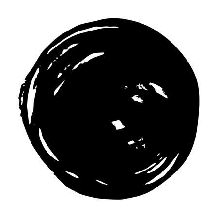Black round button. Hand painted ink blob. Grunge post Stamps Collection. Hand drawn grunge circle. Graphic design element for web, corporate identity, cards, prints etc. Vector illustration Stockfoto - 129820178