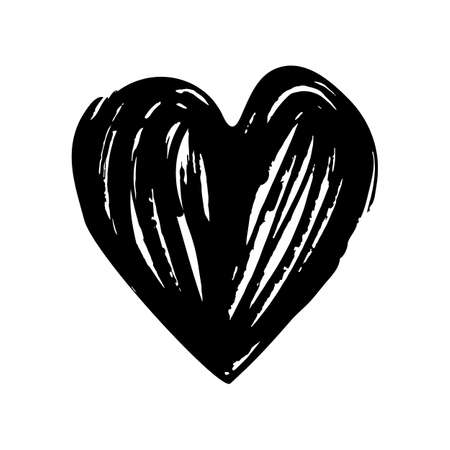 Black hand drawn vector heart. Dry ink brush illustration. Isolated on white background. love symbol design concept element vector. Valentine hearth design illustrator element for valentine day, gift, wedding, icon.