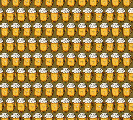 Beer icons seamless vector pattern. Oktoberfest background. Mug craft beer design icons hand-drawing elements. Graphic texture for restaurant template. Alcoholic drink decorative pattern. Zdjęcie Seryjne