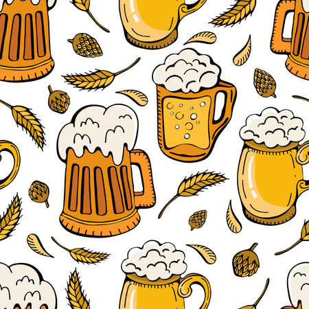 Beer icons, wheat ears, hops seamless background. Oktoberfest cartoon cute Doodle hand-drawn. Colorful details, with lots of background objects. Endless funny vector illustration.