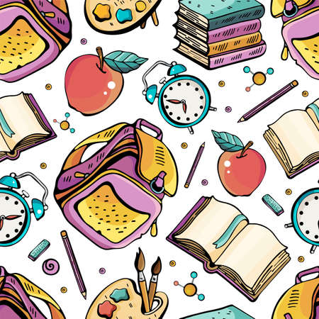 Cartoon hand-drawn Back to School seamless pattern. Lots of symbols, objects and elements. Perfect funny background. Vector illustration. Children s, cute, joyful style. Stockfoto