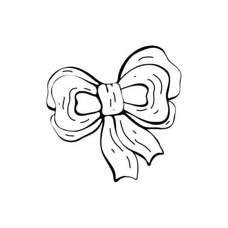 Christmas and new year winter icons. Bow, ribbon, decoration. Hand drawn monochrome set, black and white set. Happy, holiday, celebration. Isolated object on white background. Ilustracja