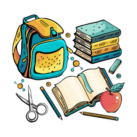 School set for the boy. Cartoon cute Doodle school lessons. Colorful illustration. Collection with a large number of objects. Backpack, textbook, scissors, pencil, eraser. Funny works of art. Ilustracja
