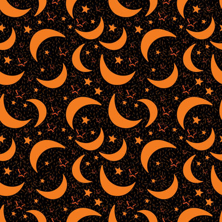 Seamless vector background with moon and stars. Night sky, space. Cute seamless pattern kids starry sky on dark background. Vector illustration for baby. Decoration of holidays, New year, Christmas.