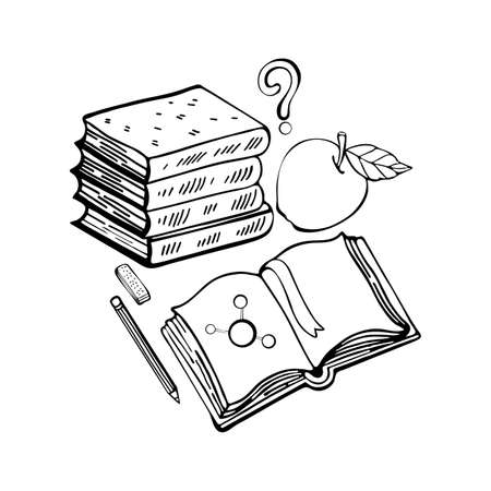 Learn lessons. School set stack of books, open textbook, Apple, question mark, pencil, eraser. Black and white line drawing. Isolated objects on white background. Hand drawing in Doodle style.