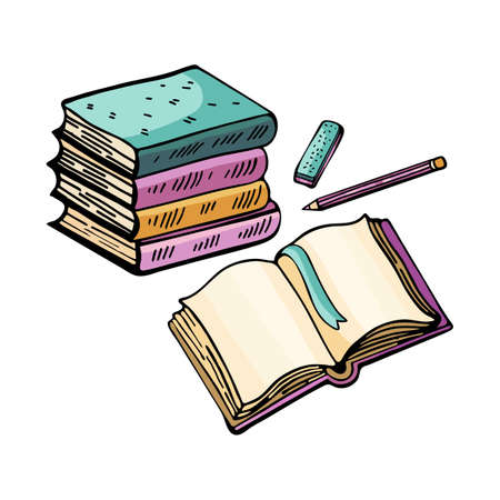 Cartoon hand drawn Doodle illustration teach lessons.Isolated objects on a white background stack of textbooks, an open book and pencils. Cute, childish style hand-drawn. Vector hand draw.