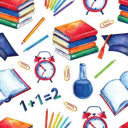 Seamless school pattern in watercolor. Books, textbooks, colored, pencils on a white background. Design for textiles, paper, Wallpaper, packaging, banner, postcard invitation fabric Stockfoto - 129763684