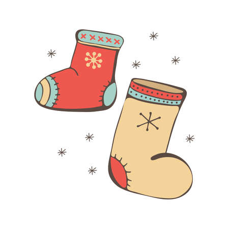 A set of winter shoes. Boots with embroidery. Colorful, festive style. Finnish, Russian style. Warm shoes for walking in winter. Isolated object on white background. Nice Doodle. Children s style.