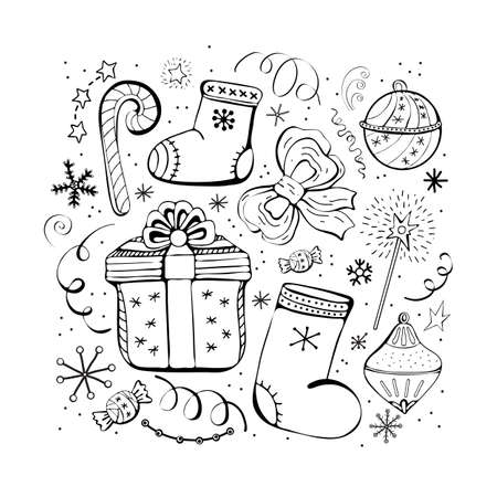 Set of Christmas and new year winter icons. Candy, gift, snowflakes, boots, bow, Christmas toys, serpentine, garland. Hand drawn monochrome set, black and white set. Happy holiday.