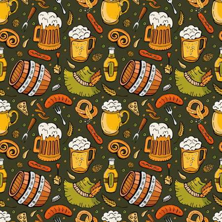 Cartoon cute Doodle hand drawn Oktoberfest seamless pattern. Beer icons. Colorful detail, with lots of background objects. Endless funny vector illustration. Bright color background with beer symbols