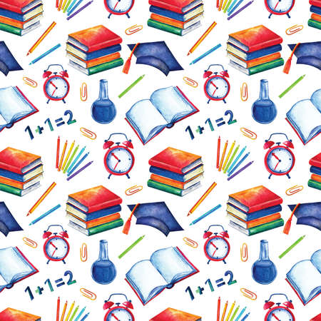 Seamless school pattern in watercolor. Books, textbooks, colored, pencils on a white background. Design for textiles, paper, Wallpaper, packaging, banner, postcard invitation fabric Zdjęcie Seryjne