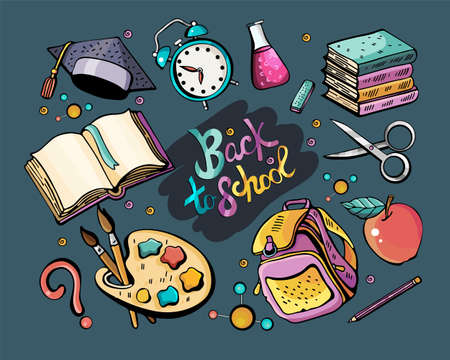 Great vector set back to school. Colorful vector hand drawn Doodle cartoon set of themed elements, objects and symbols. Colorful illustration. Collection with a large number of objects.