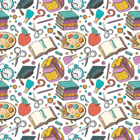 Cartoon hand-drawn Back to School seamless pattern. Lots of symbols, objects and elements. Perfect funny background. Vector illustration. Children s, cute, joyful style. Ilustracja