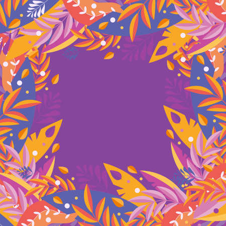 Banner of autumn leaves on a purple background. Naive, cute, simply style. Vector illustration with yellow, orange, red leaves. Bright background for design, printing, invitation card, social networks