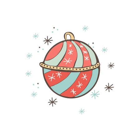 Christmas and Christmas toys for the Christmas tree. Christmas ball. Festive decoration. Happy holiday. Isolated object on white background. Cute, kids style