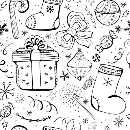 Christmas holidays seamless vector background with gifts, candy, toys, snowflake. Cute Fun seamless background with winter holiday symbols. Black and white, monochrome line of decoration. Doodle