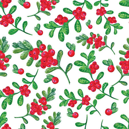 Cranberries with leaves seamless watercolor pattern handmade. Hand drawing Botanical forest berries seamless background . Watercolor illustration. Use for textile printing, wrapping paper, packing
