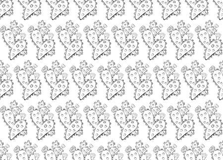 Seamless background in hand-drawn cactus with flowers and thorns. Isolated vector object on white background. Exotic Opuntia. Hand drawn ornament for wrapping paper. Cacti ornament. Hand drawn isolate Archivio Fotografico - 129261468