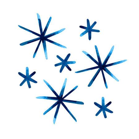 Isolated watercolor blue snowflake on white background. Symbol of winter. Wonderful decoration. Christmas illustration. Imagens