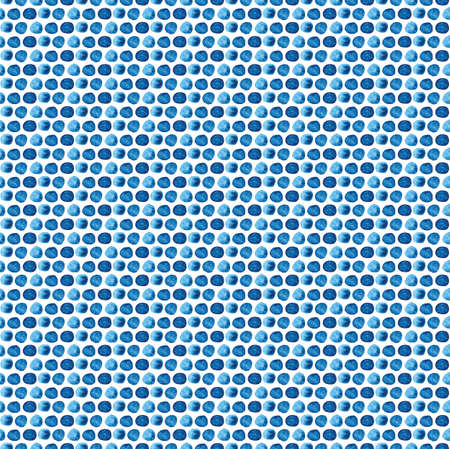 Seamless abstract background of blue round spots in watercolor. Hand painted artistic blue texture on white background. For fabric, print, fabric, packaging.