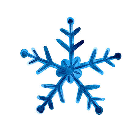 Isolated watercolor blue snowflake on white background. Symbol of winter. Wonderful decoration. Christmas illustration. Banco de Imagens
