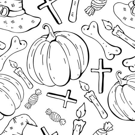 Seamless pattern in vector witch hat, pumpkin, bone, candy. Black and white background line. Hand drawn design for textile, paper, Wallpaper, packaging. Doodle style. Festive decoration happy Halloween. 向量圖像