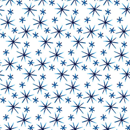 Watercolor winter seamless pattern with snowflakes, hand painted artistic blue texture on white background. Watercolor hand drawn snowflake background. For fabric, print, textile, packaging. Stok Fotoğraf