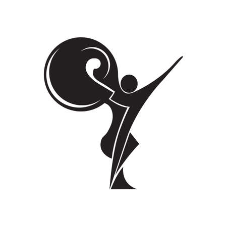 Black and white silhouette of a dancing couple in vector. Monochrome logo for dance Studio. Latin, ballroom dancing. Label, sign, sticker. Man and woman dancing. Фото со стока