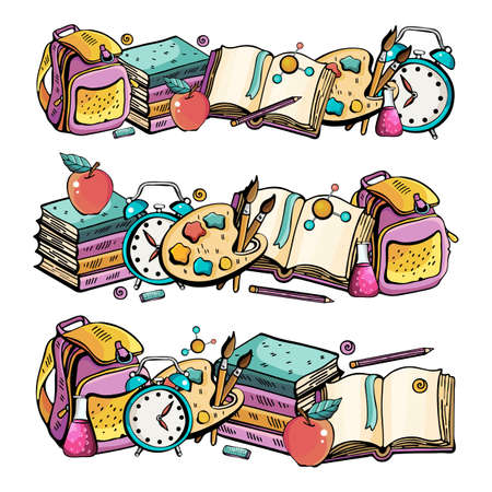 Set the Horizontal banner back to school. Vector colorful illustration in cute style. Hand drawn Doodle cartoon set of thematic elements, objects and symbols. Collection with a large number of objects  イラスト・ベクター素材